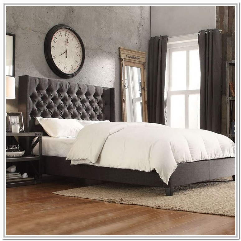 Dark Grey Upholstered Platform Bed