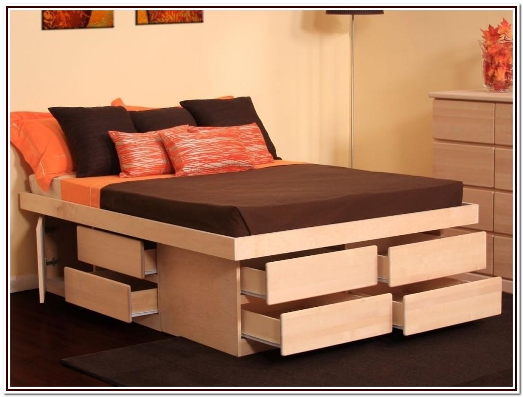 Diy Queen Platform Bed Frame With Storage