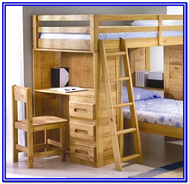 Double Bunk Bed With Desk For Adults
