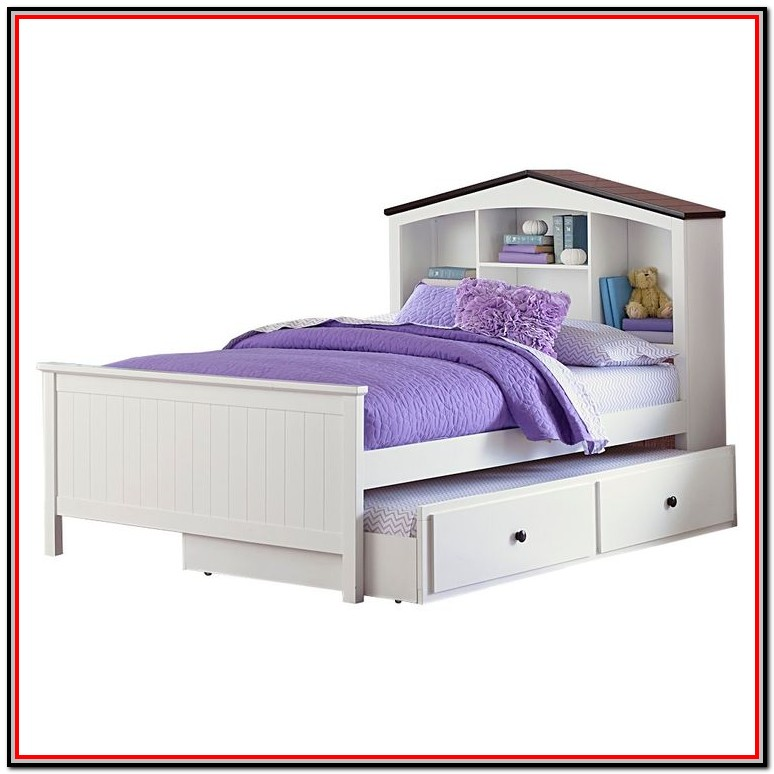 Full Size Bed With Bookcase Headboard And Trundle