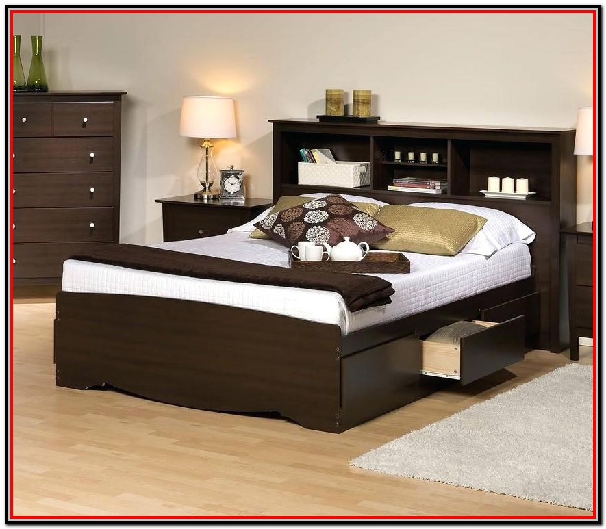 Full Size Bed With Drawers And Bookcase Headboard