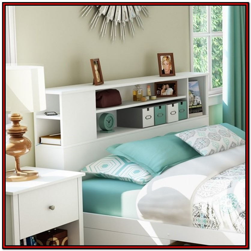 Full Size Bed With Storage And Bookcase Headboard