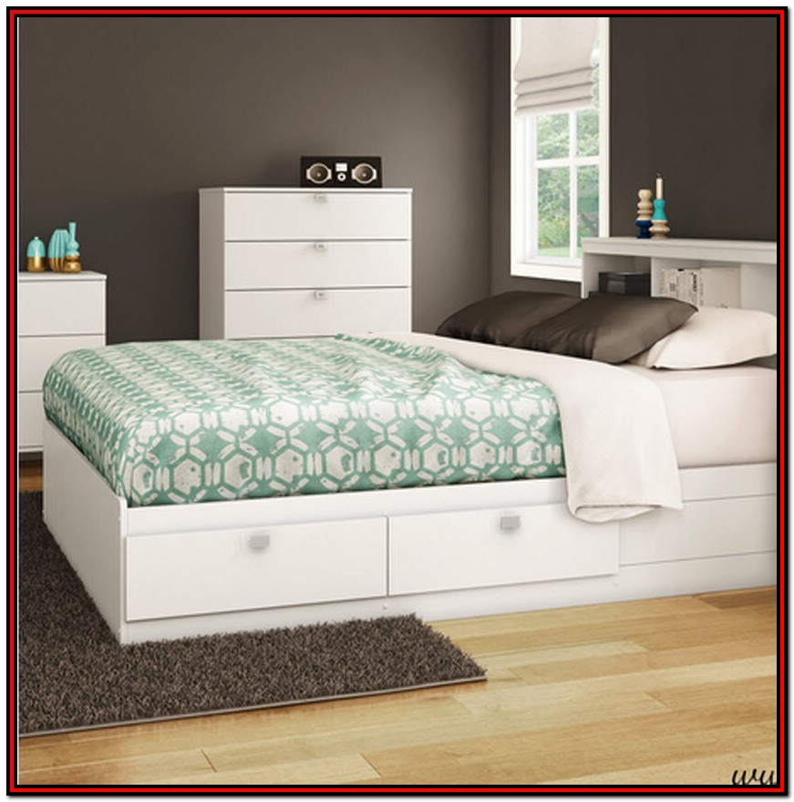 Full Size Bed With Storage And Headboard White