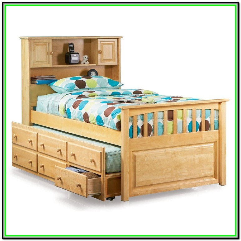 Full Size Bookcase Captain's Day Bed With Trundle