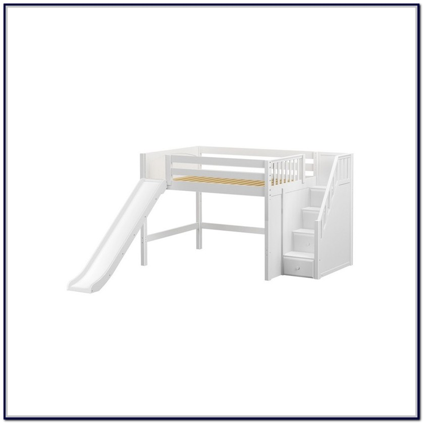 Full Size Loft Bed With Stairs And Slide