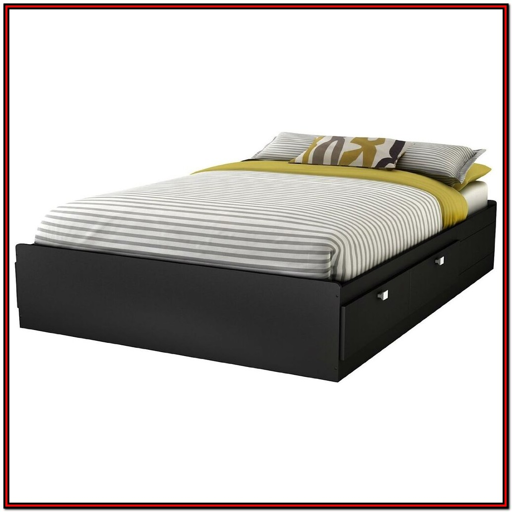 Full Size Platform Bed With Headboard Storage