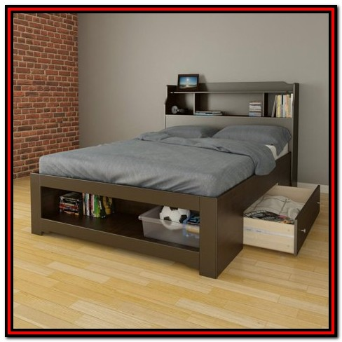 Full Size Storage Beds With Bookcase Headboard