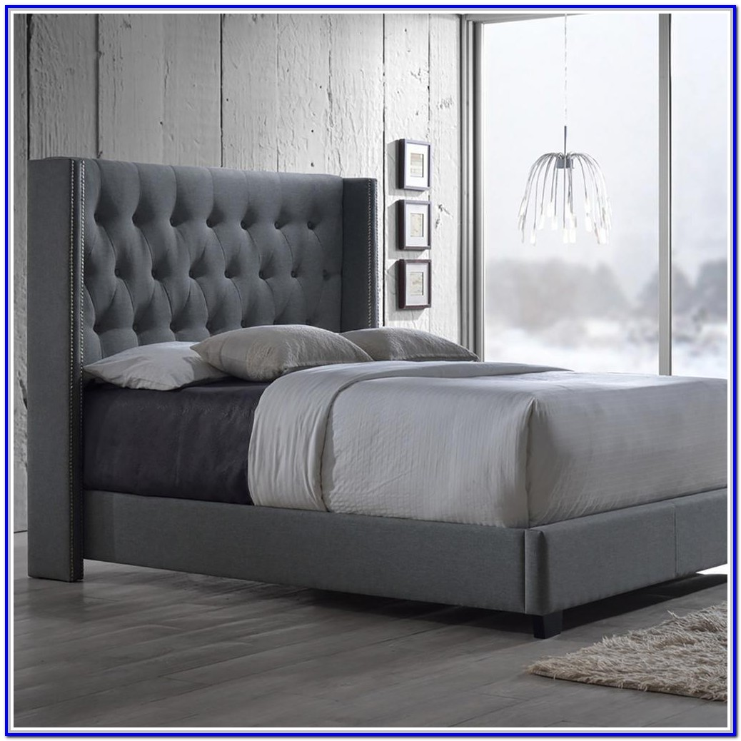 Grey Fabric Bed Frame King Size