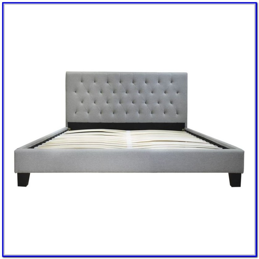 Grey Material Double Bed Frame