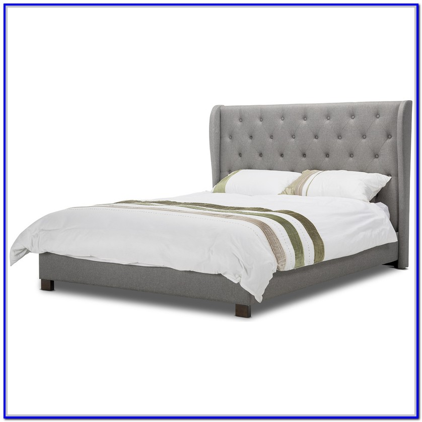 Grey Upholstered Bed Frame Queen