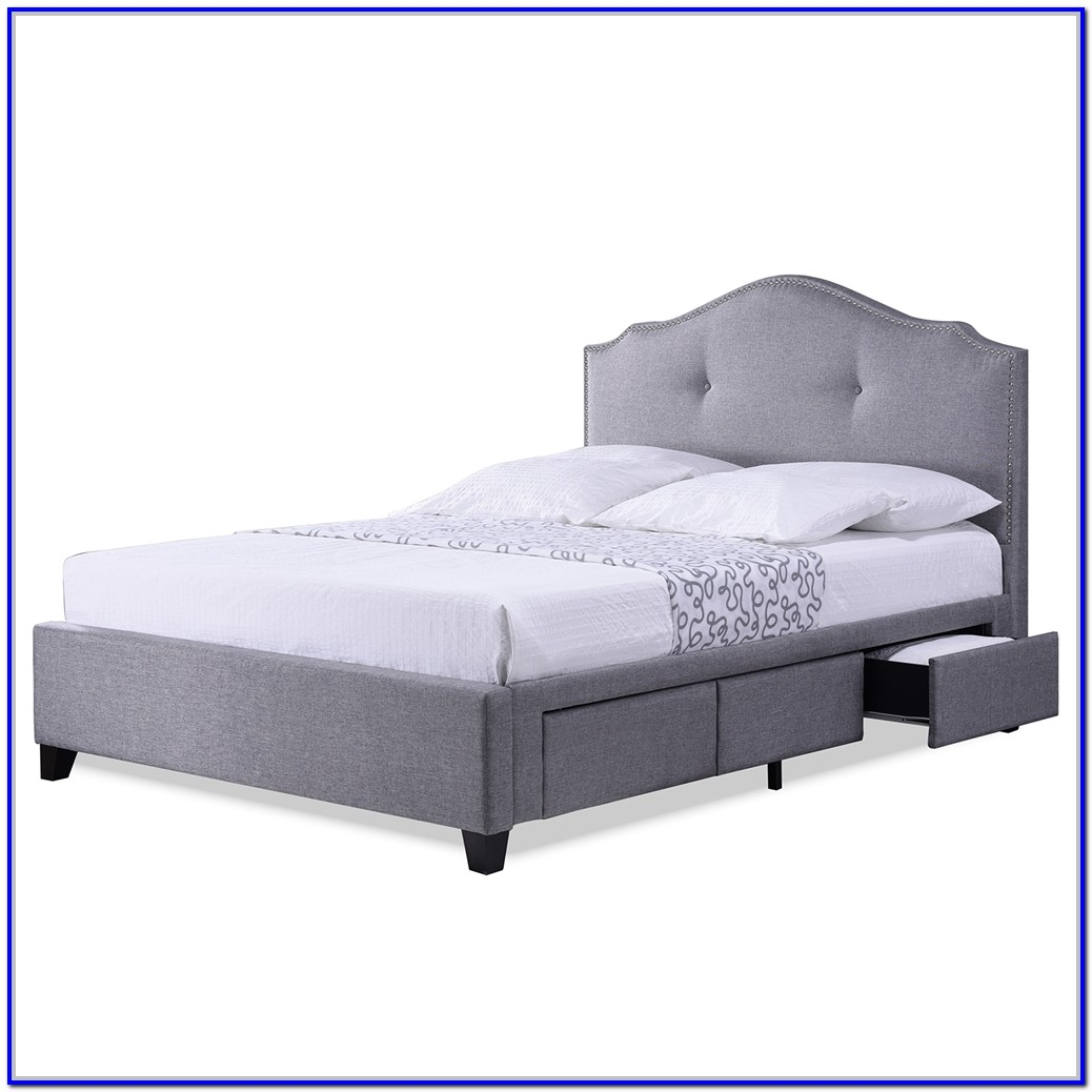 Grey Upholstered Bed Frame With Storage