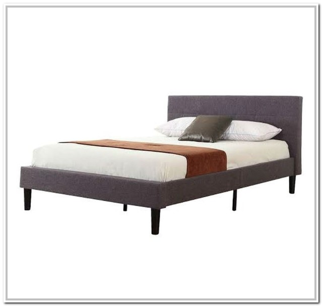 Grey Upholstered Platform Bed Full