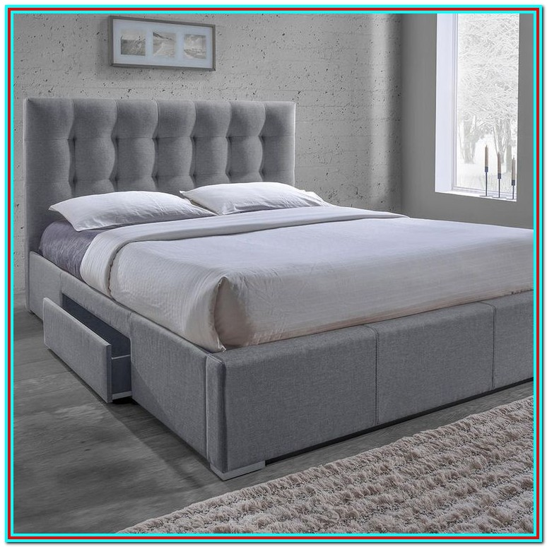 Grey Upholstered Platform Bed With Storage