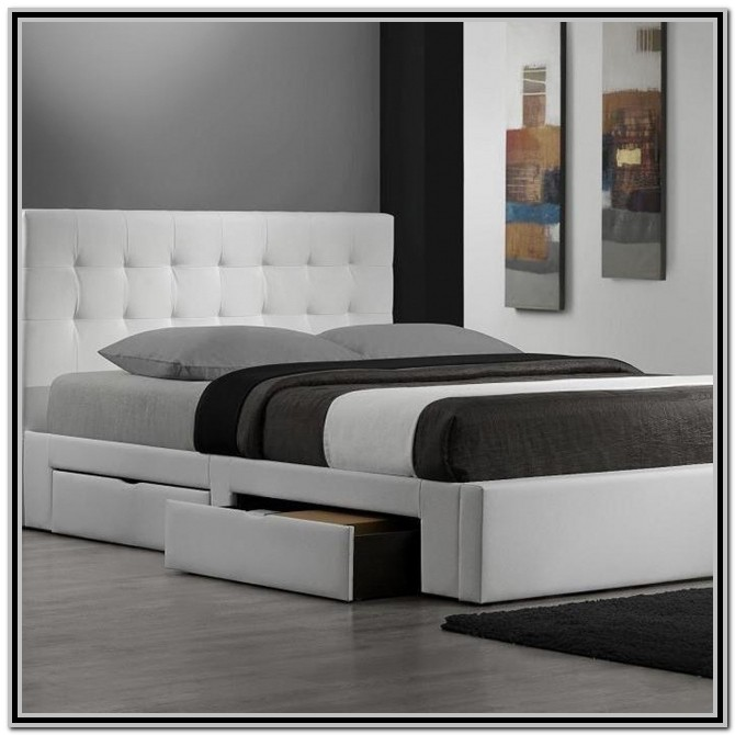 King Size Platform Bed With Drawers White