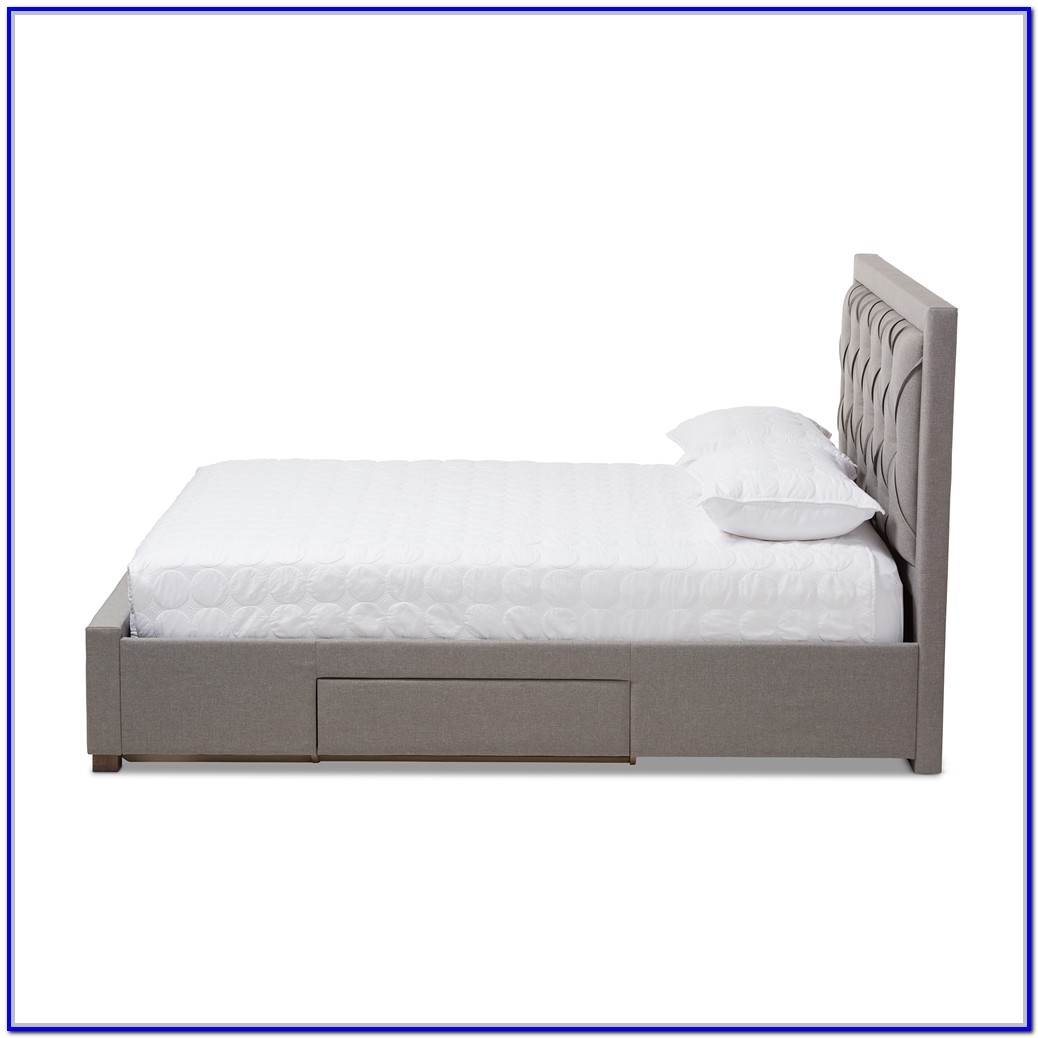 Light Grey Upholstered Storage Bed