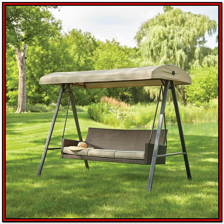 Mainstays Wentworth 3 Person Cushioned Canopy Porch Swing Bed