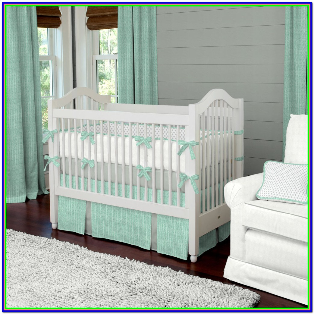 Mint Green And Gray Crib Bedding