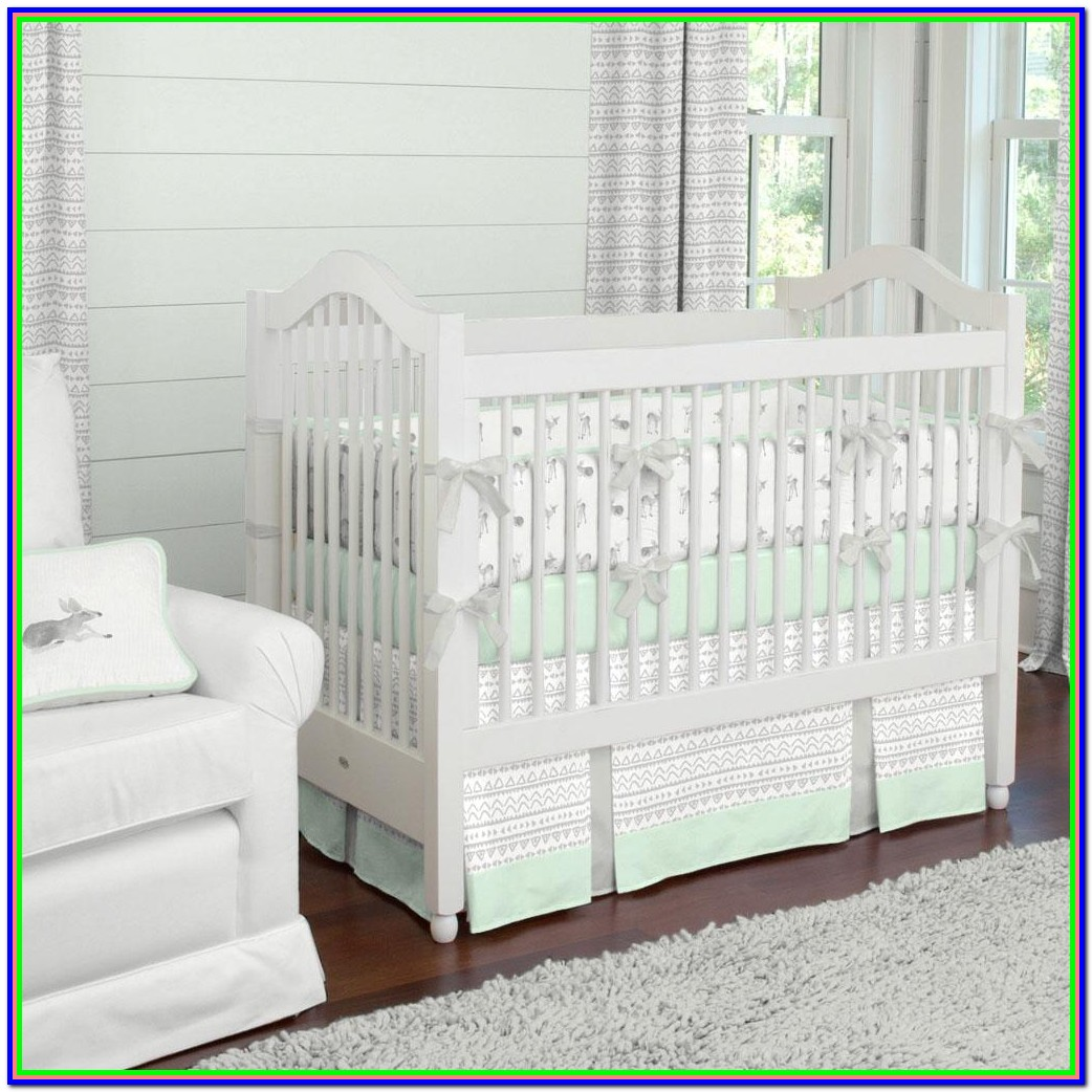 Mint Green And Gray Nursery Bedding