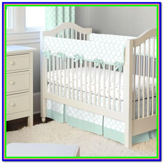 Mint Green And Grey Baby Bedding