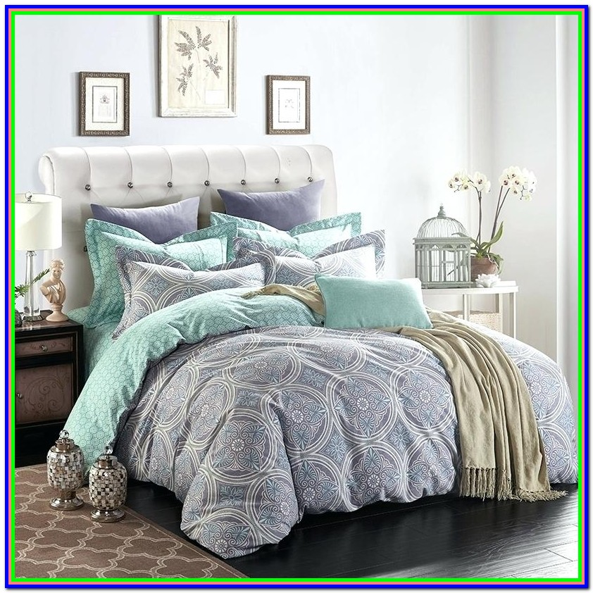 Mint Green And Grey Bedspread