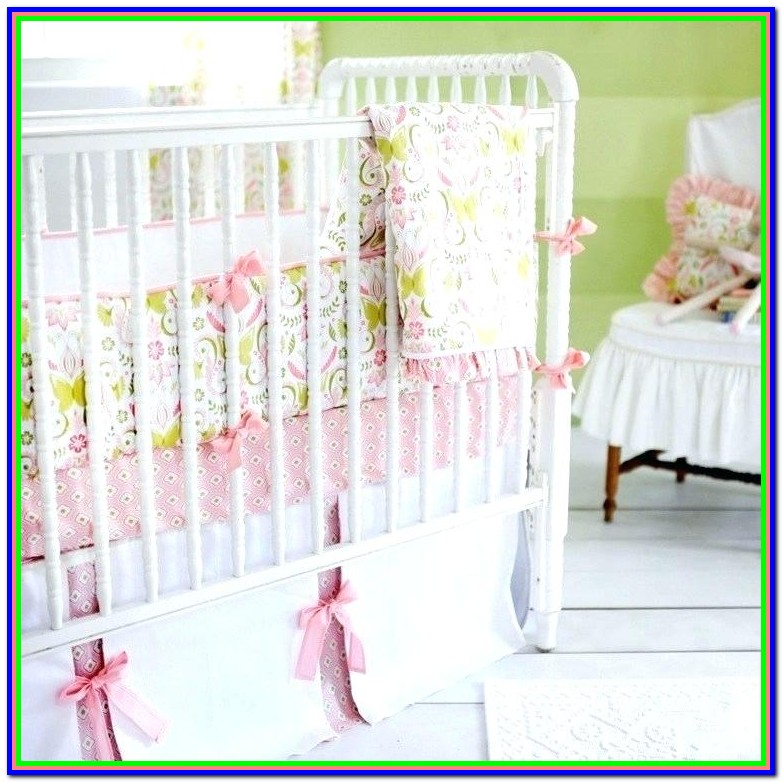 Mint Green And Pink Crib Bedding