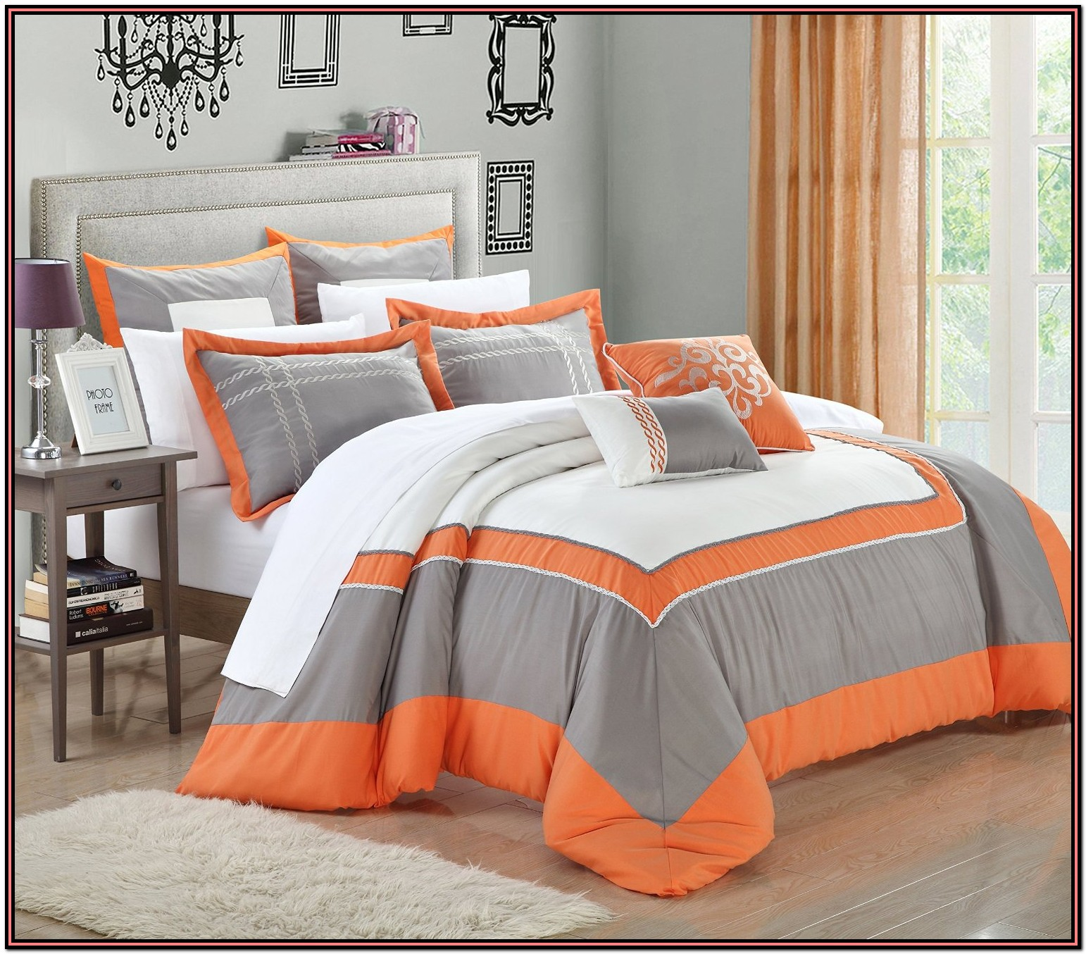 Orange And Gray Bedding