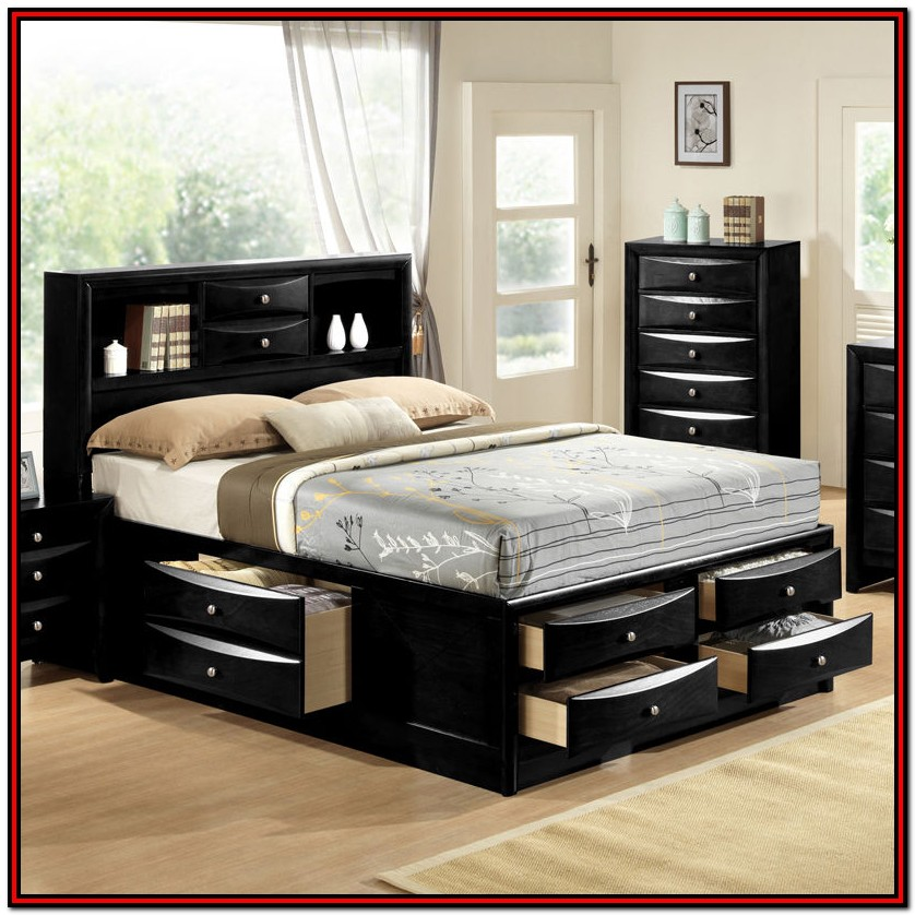 Queen Platform Bed With Storage And Bookcase Headboard