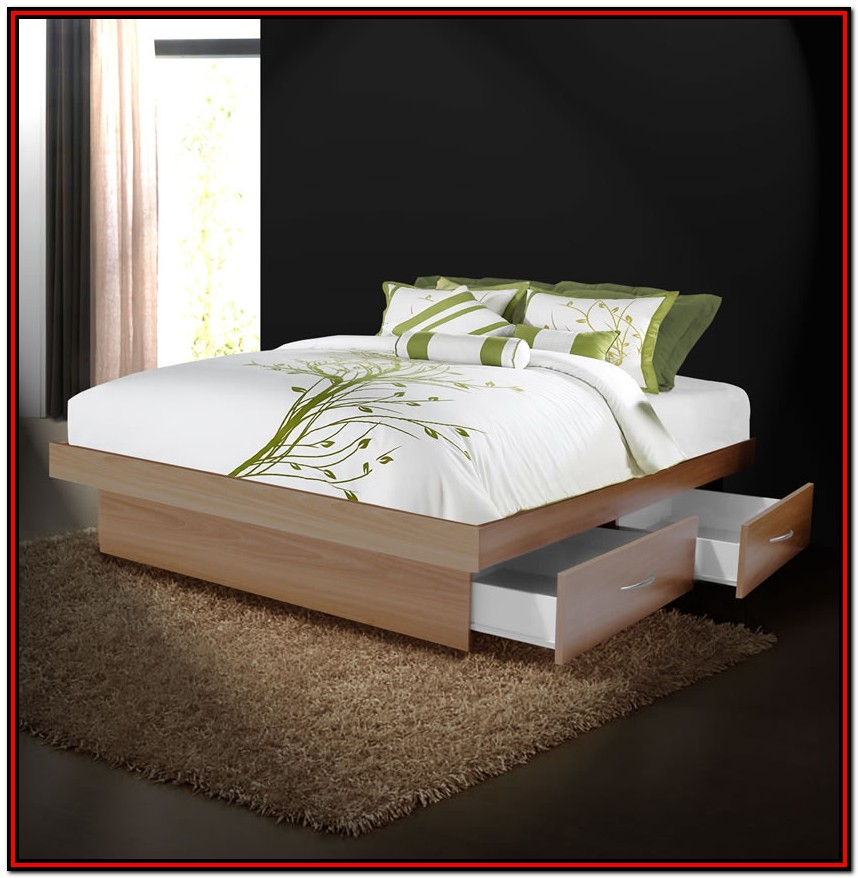 Queen Platform Bed With Storage Drawers