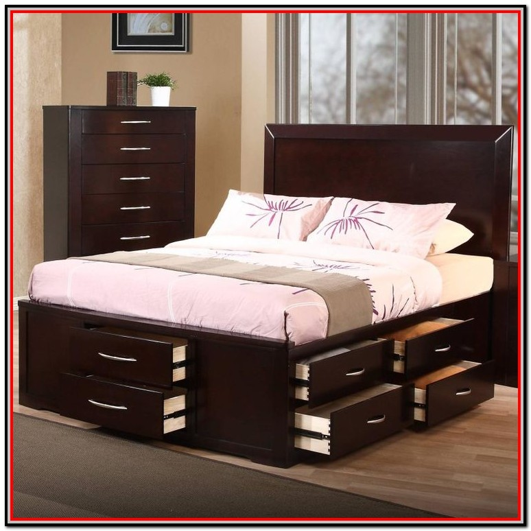 Queen Size Bed With Drawers Underneath Plans