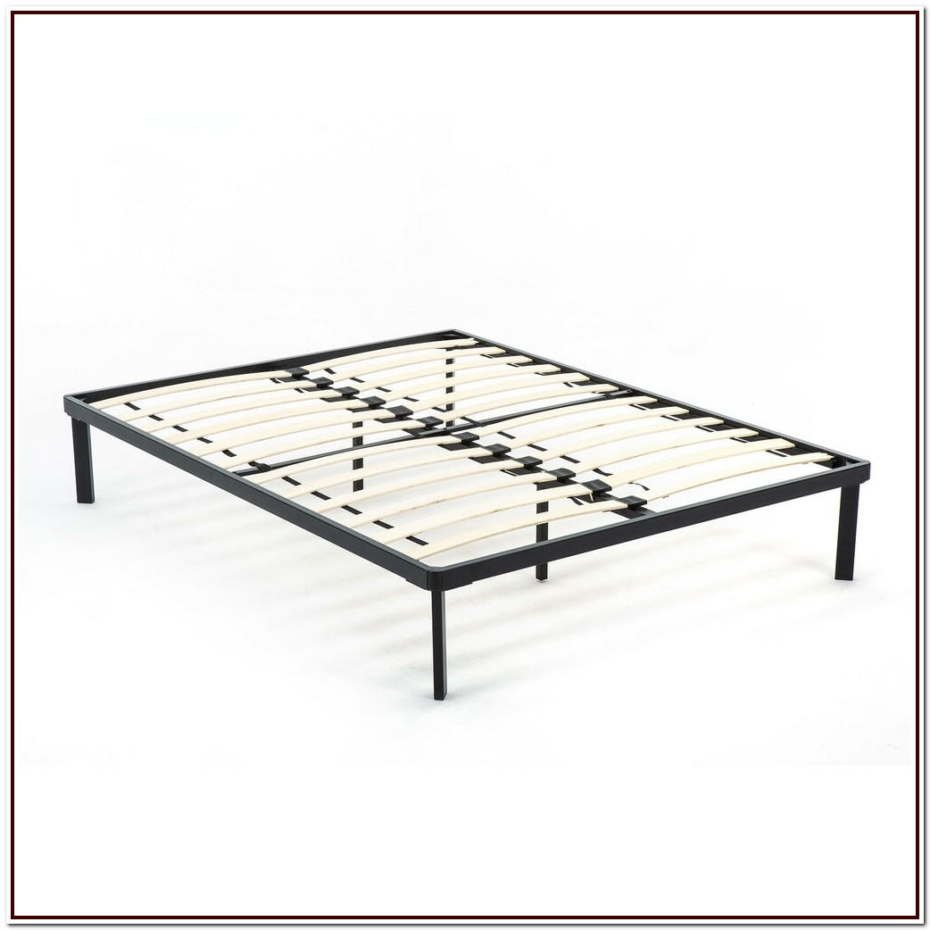 Queen Size Metal Platform Bed Frame With Wood Slats