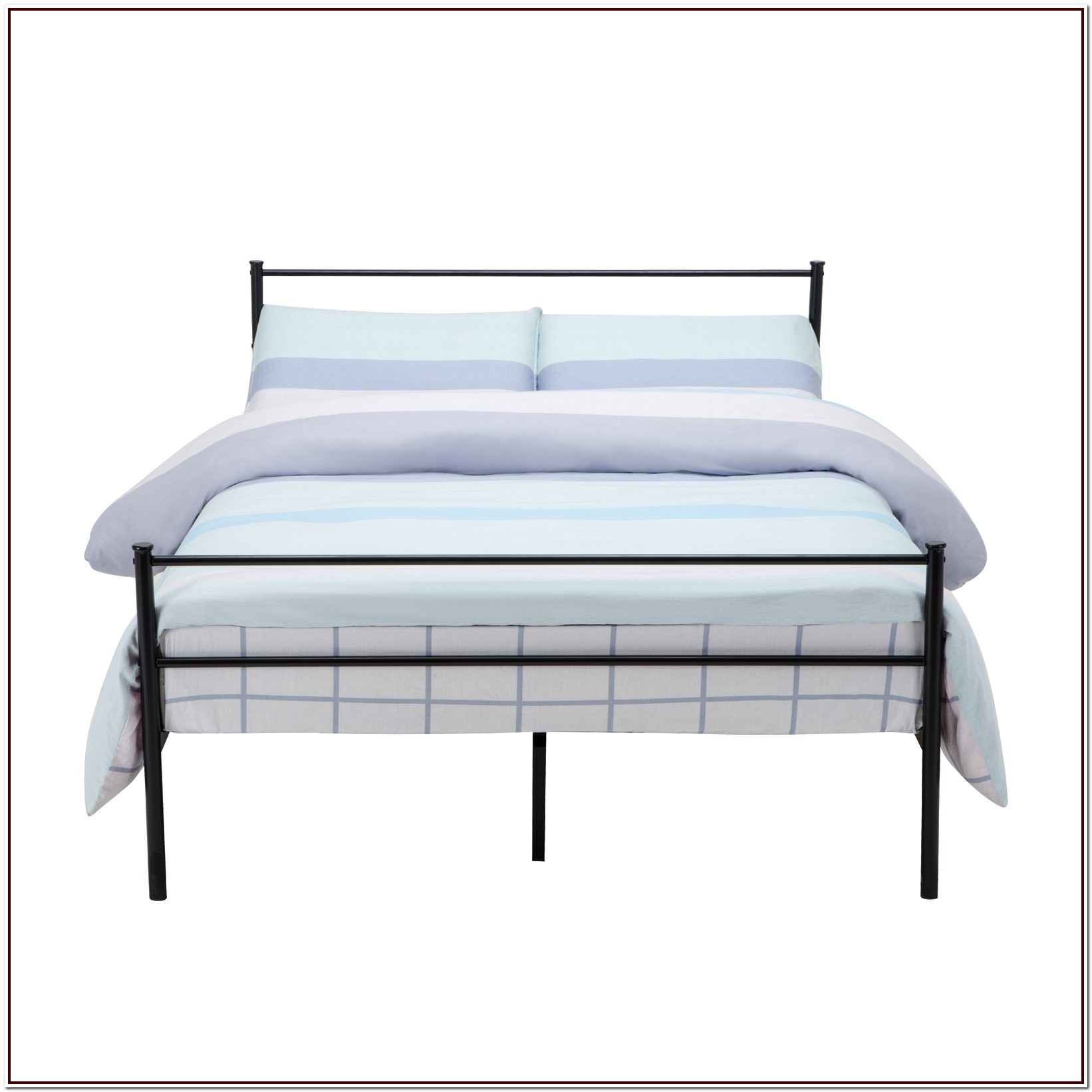 Queen White Metal Platform Bed Frame