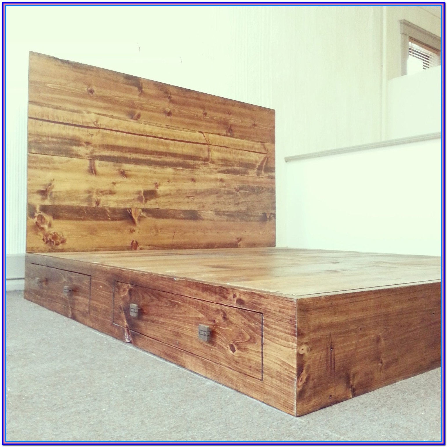 Rustic Wood Bed Frame With Drawers