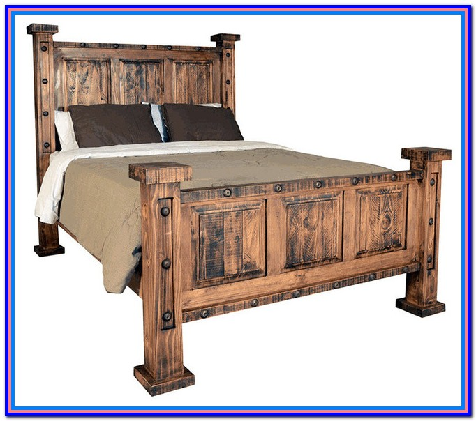 Rustic Wooden Bed Frame Queen