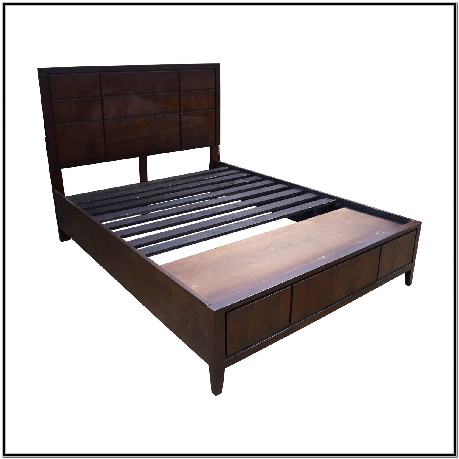 Queen Bed Frame With Storage No Headboard Bedroom Home
