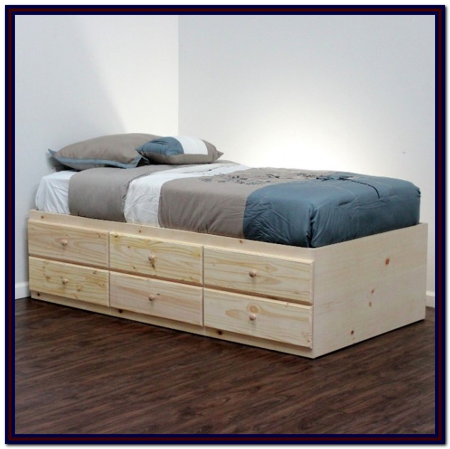Twin Bed Frame Wood With Drawers