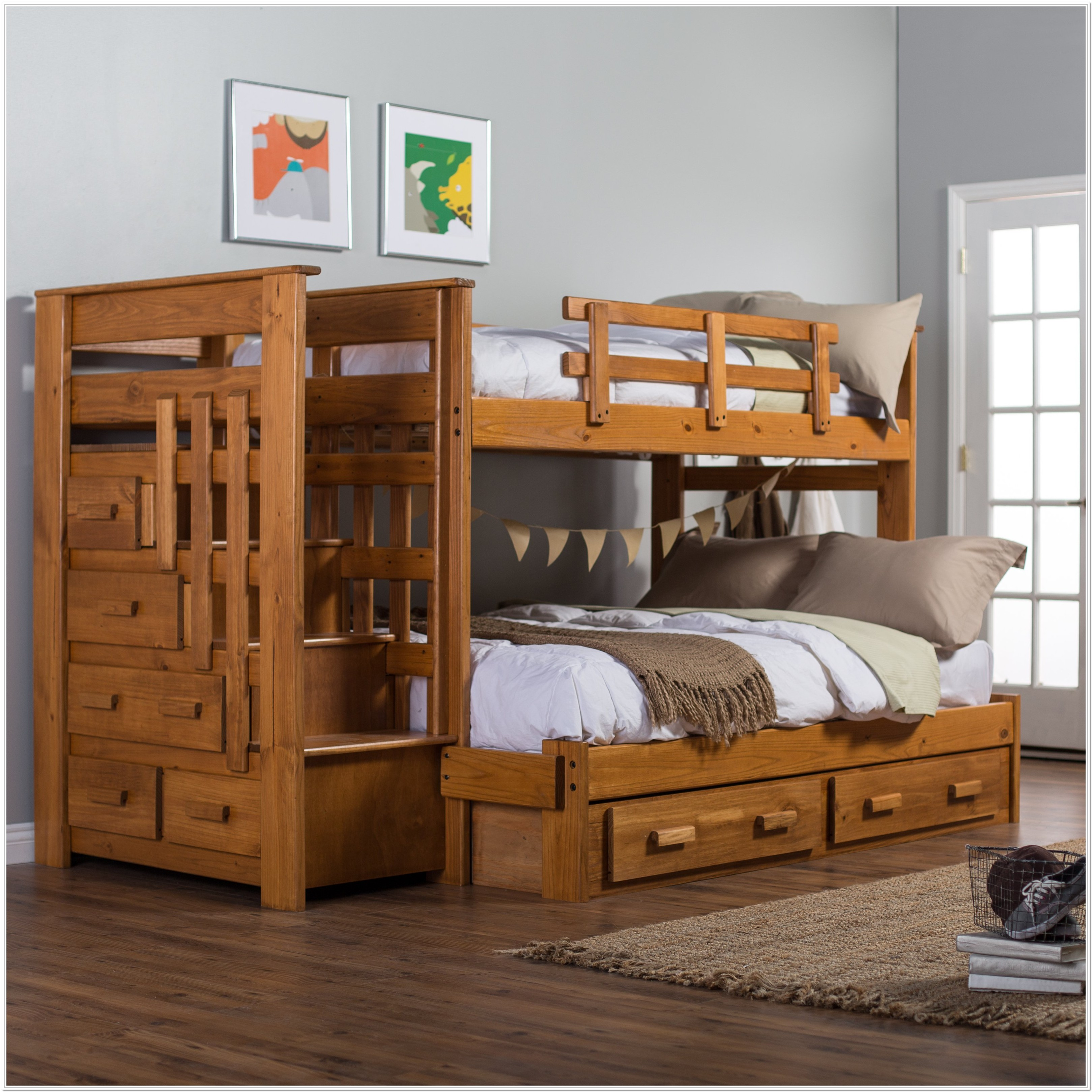 Twin Over Full Bunk Bed With Stairway