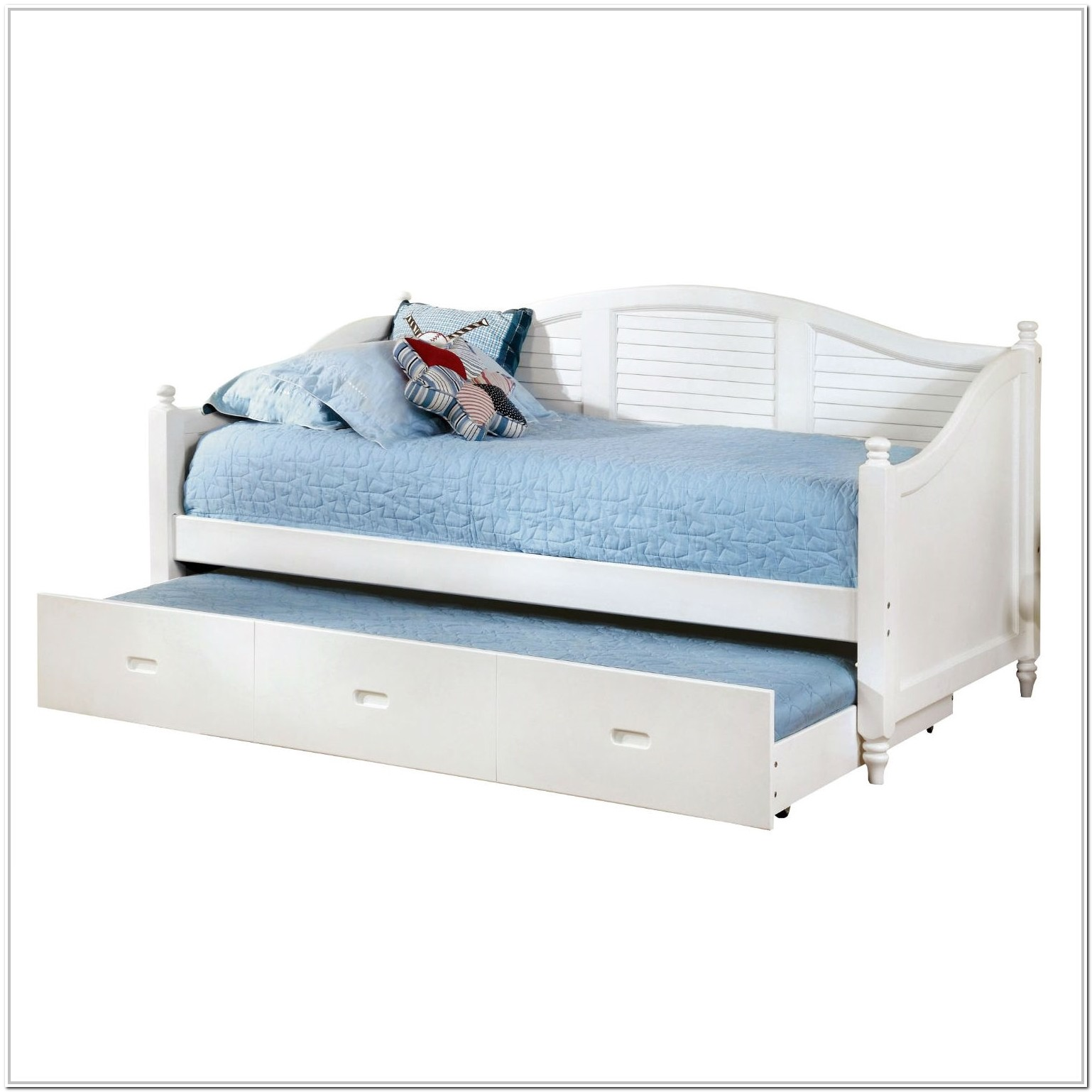 Twin Size Trundle Bed White