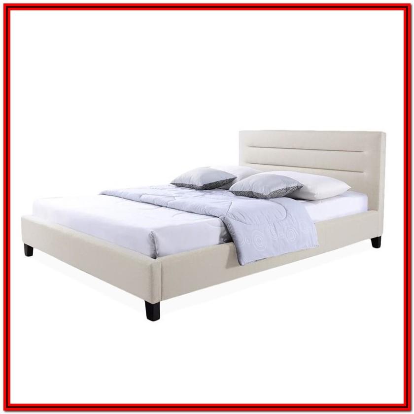 Upholstered Platform Bed King Beige