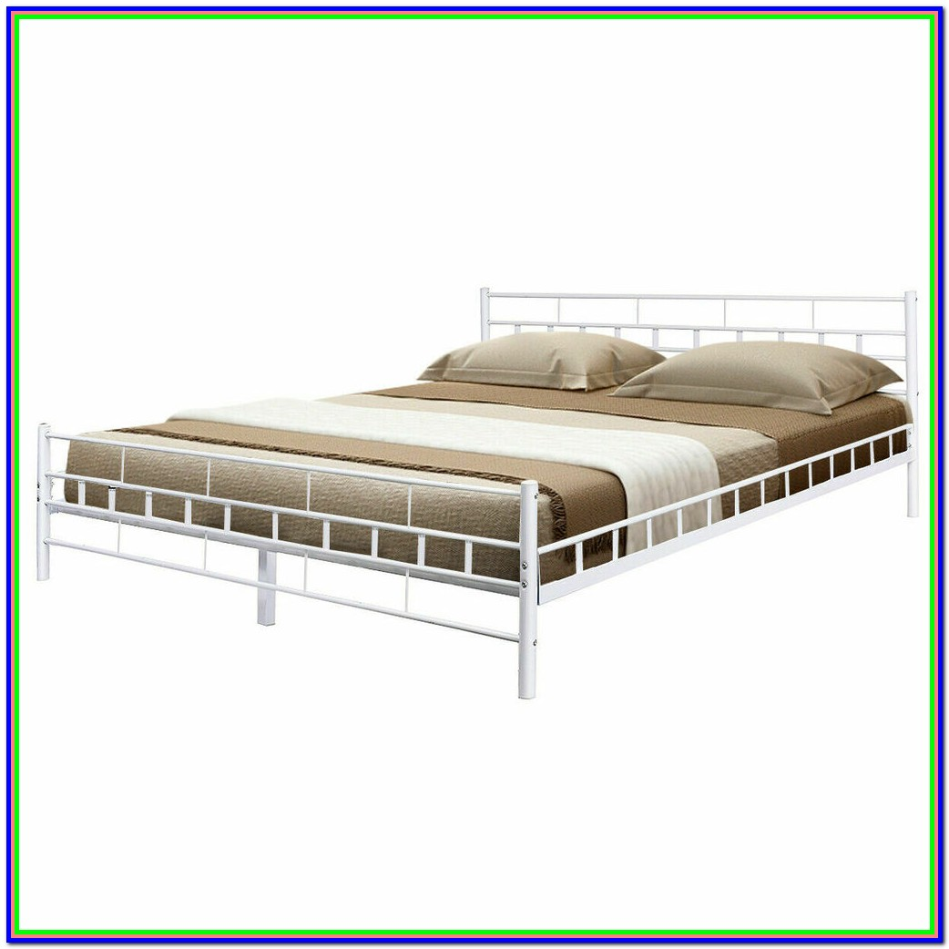 White Bed Frame Queen Wood