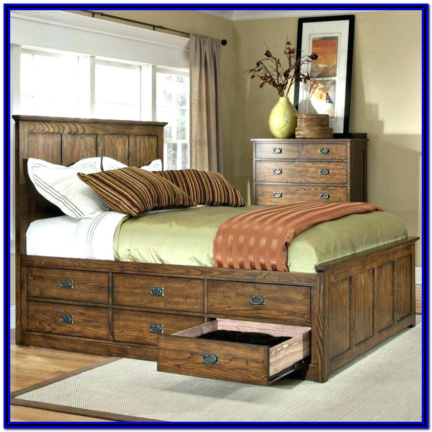 White Bed Frame With Drawers Queen