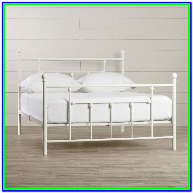 White Full Size Platform Bed With Headboard
