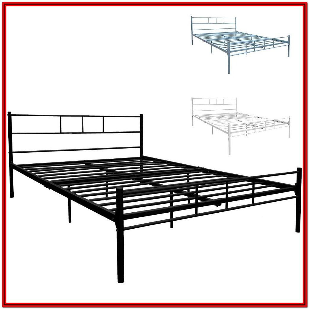 White Metal Bed Frame King Size