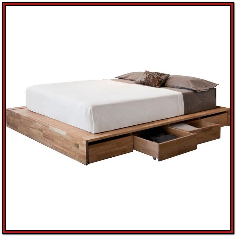 White Platform Bed Frame With Storage Bedroom Home