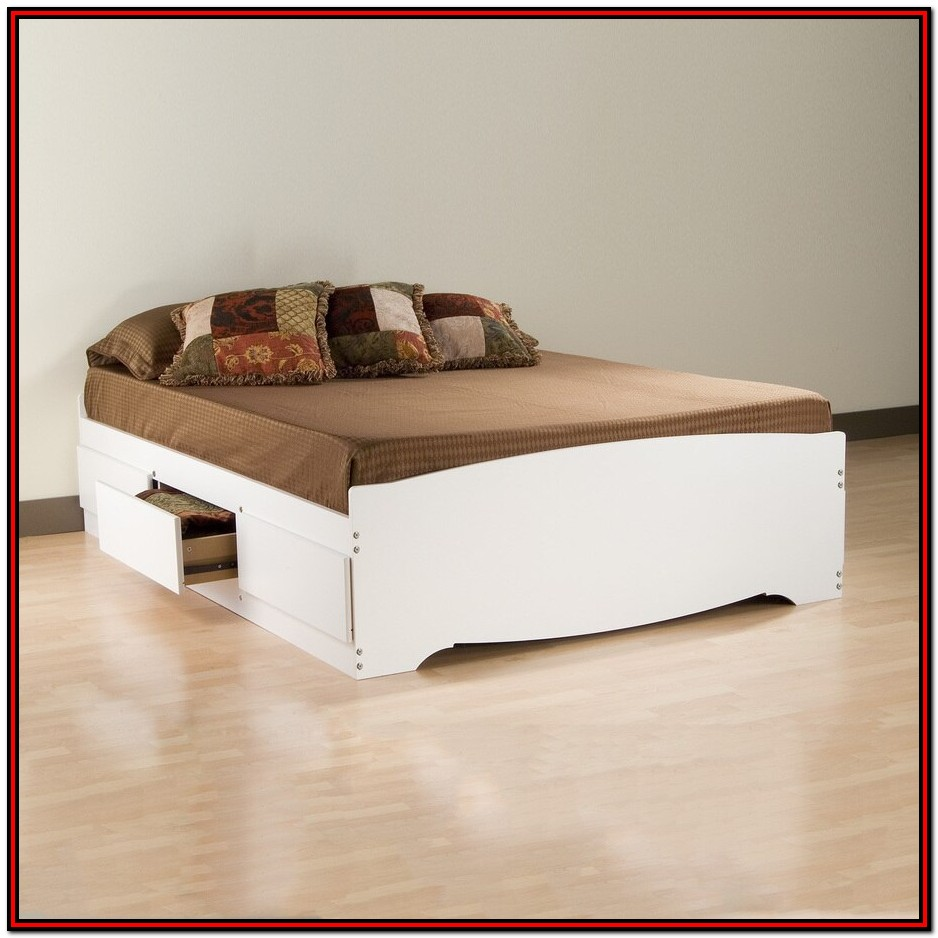 White Queen's Platform Storage Bed With 6 Drawers