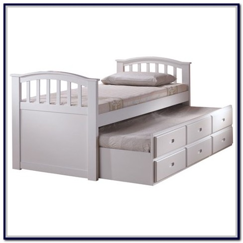 White Twin Captain Bed With Drawers