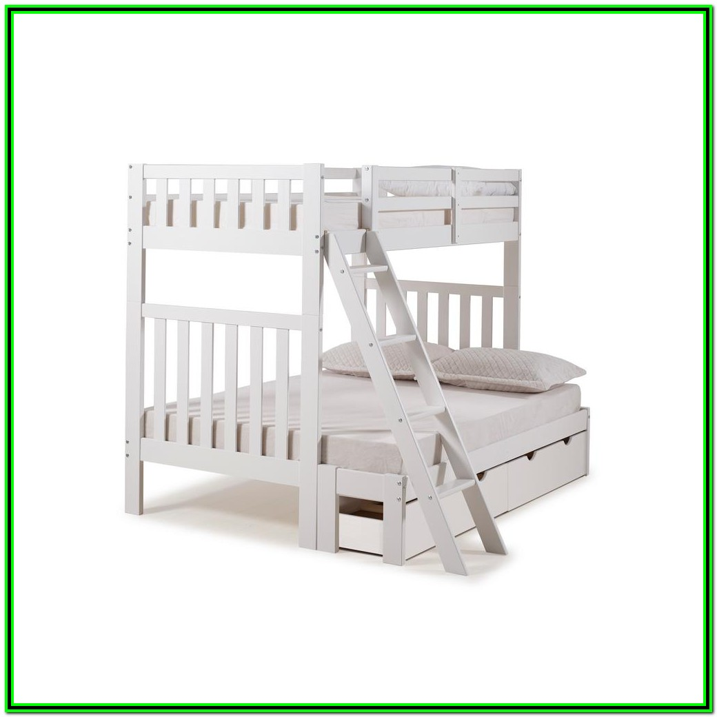 White Twin Over Full Bunk Bed With Drawers