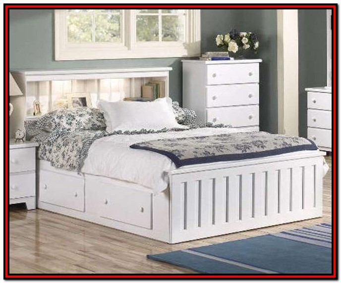 White Wood Queen Bed With Storage