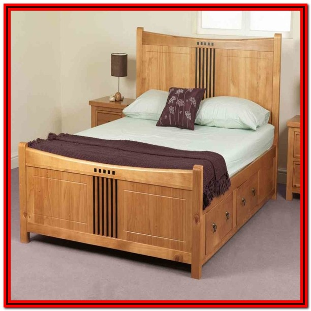 Wooden Bed Frame King Size With Storage