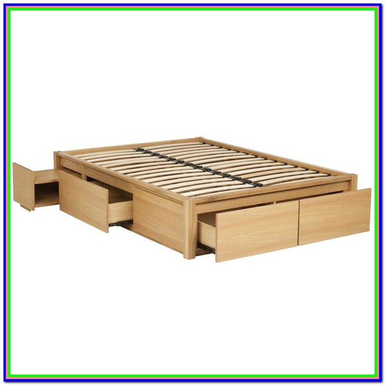 Wooden Queen Bed Frame With Drawers