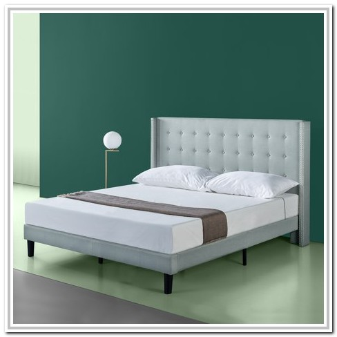 Zinus Grey Upholstered Platform Bed